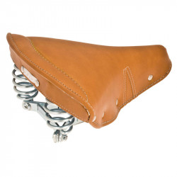 CIGNO RETRO SPERU BICYCLE SADDLE LEATHER WITH SPRINGS IN HONEY BROWN COLOR