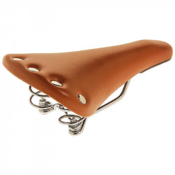 RETRO SPORT BICYCLE SADDLE HONEY WITH SPRING SUSPENSION