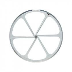Front Bicycle Wheel Aluminium Fixed FLIP-FLOP 6 spokes WHITE