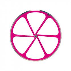 Front Bicycle Wheel Aluminium Fixed 6 spokes FUXIA FLUO