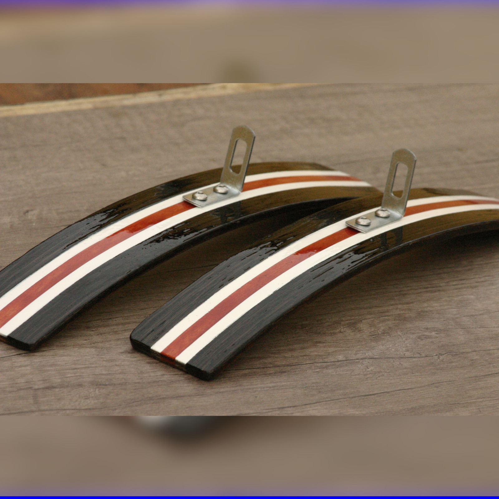 MAIERFENDERS 29S Bicycle Wooden Fenders Mudguards Fiberglass Reinforced Black White Red