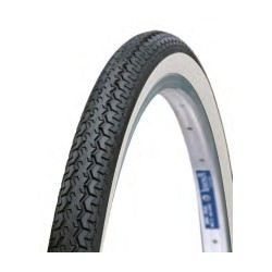 2 X CLASSIC CITY BICYCLE TYRE 26x 1 3/8 BLACK WHITE WALL