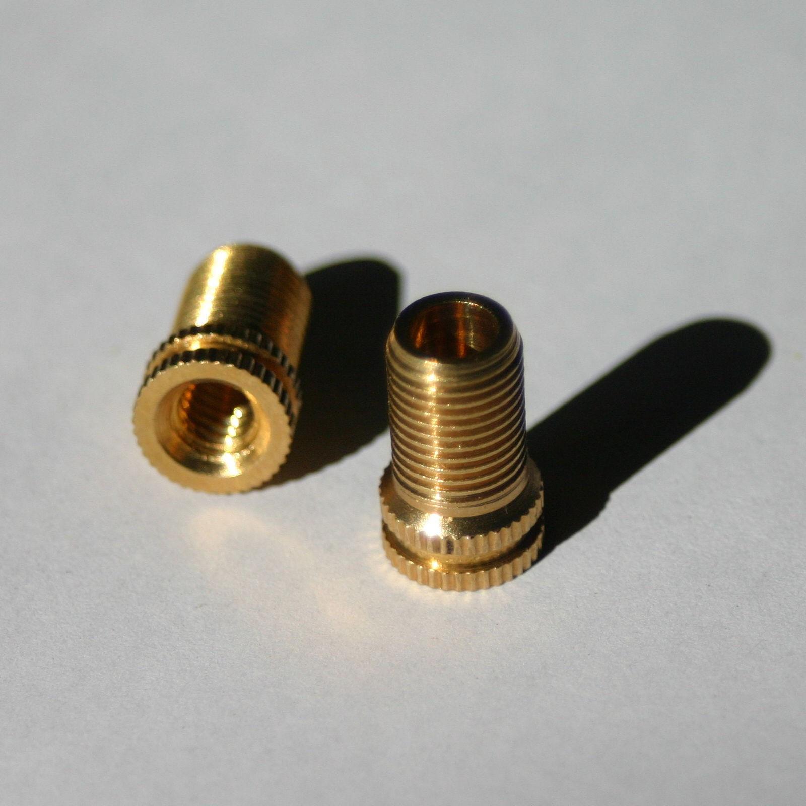 2 X Brass adaptor type Presta to Schrader valve bike car pump connector adapter