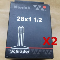 2 X BICYCLE TUBES 28 1 1/2 700B SCHRADER VALVE DOUBLE TUBE