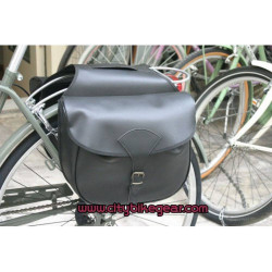 Classic Bicycle Rear Double Bags - Bicycle Paniers in Black Leatherete