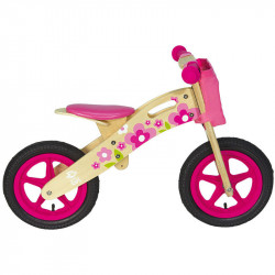 PINK FLOWERS WOODEN BALANCE BIKE