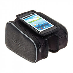 BRN Bicycle Horizontal Tube Double Bag BLACK with smartphone case