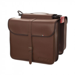 ECO-LEATHER DOUBLE BAG BICYCLE REAR PANNIERS IN COLOUR BROWN