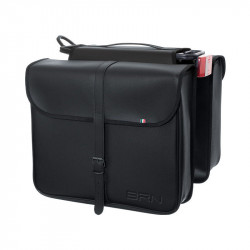 ECO-LEATHER DOUBLE BAG BICYCLE REAR PANNIERS IN COLOUR BLACK