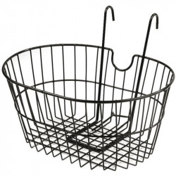FRONT BICYCLE BASKET BLACK COLOR WITH HOOKS MADE OF STEEL