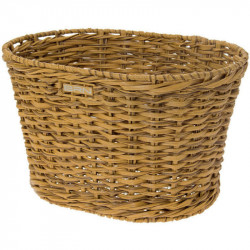 VINTAGE BICYCLE BASKET - MADE OF ECO RATTAN - OVAL SHAPED – NATURAL RATTAN COLOR