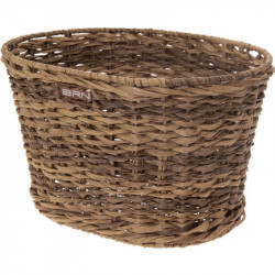 VINTAGE BICYCLE BASKET - MADE OF ECO RATTAN - OVAL SHAPED – BROWN COLOR