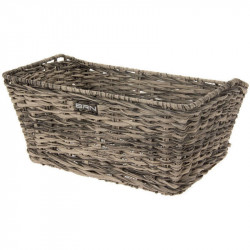 VINTAGE BICYCLE BASKET - MADE OF ECO RATTAN - RECTANGULAR SHAPED – COLOR GREY