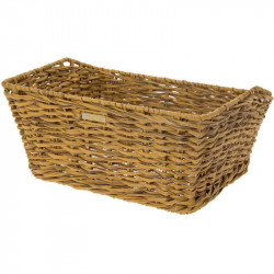 VINTAGE BICYCLE BASKET - MADE OF ECO RATTAN - RECTANGULAR SHAPED – COLOR NATURAL