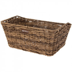 VINTAGE BICYCLE BASKET - MADE OF ECO RATTAN - RECTANGULAR SHAPED – COLOR BROWN