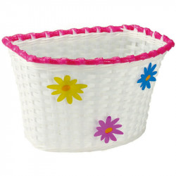 FLOWER - CHILDREN'S BICYCLE BASKET – WHITE – PLASTIC